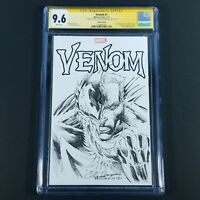 Venom #1 Blank Cover Original One Of A Kind Sketch Signed Robertson CGC SS 9.6