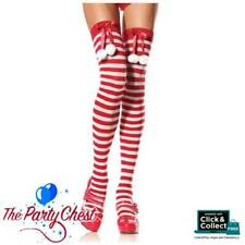 LEG AVENUE CHRISTMAS STOCKINGS WITH POM POMS Sexy Striped Thigh High Tights 6603