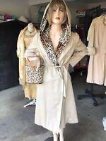 Vintage 1970s 1980s Harrods Faux Leopard Lined Hooded Coat Size Medium Large
