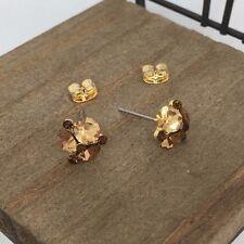 US Seller Gold Brown Color Crystal Titanium Post Stud Earrings Made in Korea