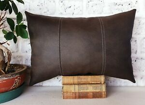 Dark brown three-piece model faux leather  lumbar pillow cover -1qty