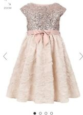 Monsoon Rose Gold Sequin Jacquard Dress 8 Years BNWT christmas party