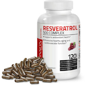 Resveratrol 500 Complex Red Wine Extract Antioxidant Heart Health, 120 Capsules
