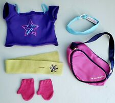 American Girl Mia's Practice Outfit Items plus Purple Ice Skate bag