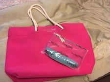 NWOT New Lancome pink  Beach Tote & makeup  Bag