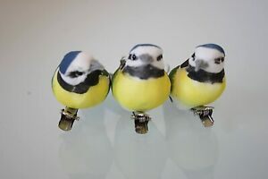 Gisela Graham Set of 3 Blue Tit Birds Christmas Tree Decoration & Metal Peg Clip