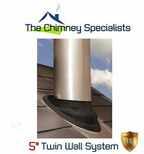 "5"" Twin Wall Flue Pipe EPDM Flashing for 10 / 45 deg roofs 150 to 200mm external"