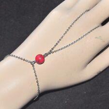 Bracelet Ring Original Stainless Steel Silver Stone Howlite Red