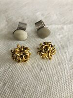 Mix Lot Of 2 Vtg Cuff Links Gold Tone/ Silver Tone One Pair - ANSON, One - PAT
