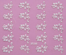 Nail Art 3D Decal Stickers Pretty White Flowers w/ Silver Dot Accents XF150