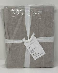 """Pottery Barn Belgian Flax Linen Queen Bedskirt Bed Skirt ~ 14"""" Drop ~ Flax"""