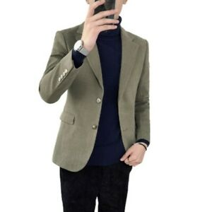 Men's Korean Blazer Jacket Slim Fit Lapel Collar Two Button Casual Long sleeve L