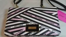 Betsey Johnson Crossbody Handbag Purse Pink Black White w/ Heart Mirror