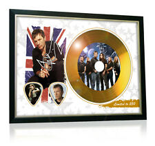 Bruce Dickinson Iron Maiden Flag Style Signed Gold Disc Display
