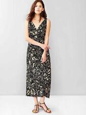 NWT Neutral Banana Printed V-neck Maxi Long Dress, Size 6 Tall