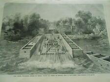 Gravure 1868 - Lord Monck gouverneur du Canada visitant les chutes de l'Ottowa