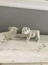 lenox figurines Two White And Gold Bulldogs Very Nice