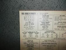 1965 Dodge Plymouth EIGHT Series Models 318 CI V8 2BBL Tune Up Chart
