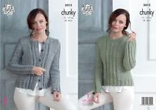 0181e1fb1d5ffe King Cole 5013 Knitting Pattern Womens Cabled Cardigan   Sweater in Chunky  Tweed