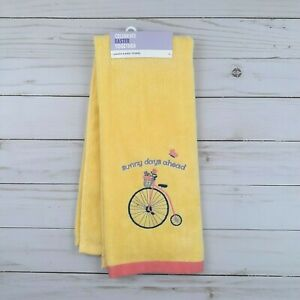 Guest Bath Hand Towel Bike Bicycle Flowers Yellow Terry Cloth