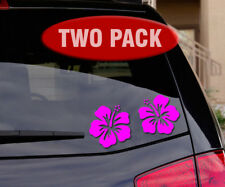 Hawaiian Hibiscus Flower - Two-Pack - Car Decal / Sticker - In Bright Pink
