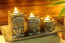 SET OF 3 MEDITATION BUDDHA CANDLE HOLDERS WITH DISPLAY TRAY- HOME DECOR ART SET