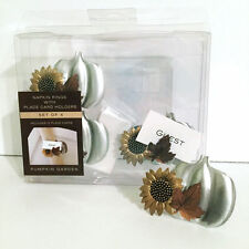 Harvest Napkin Rings Place Card Holders Fall Pumpkin Sunflower Leaf Thanksgiving