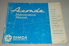 Manuale di istruzioni owner'S MANUAL SIMCA ARONDE, stand 1966