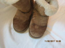"Preowned Women's Size 7 Ugg Boots, 8"" in Height - Dark Brown Button on the Side"
