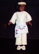 "VINTAGE Hard Plastic 7 1/2"" Indian Doll o/C Eyes Mohair Estate Sale GUC"