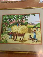 """Harvesting the Hay"" Sunset Stitchery Kit #2740 - New Children Dog Embroidery"