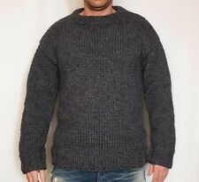 Hand knitted 100% WOOL thick mens woolen sweater with crewneck, soft jumper