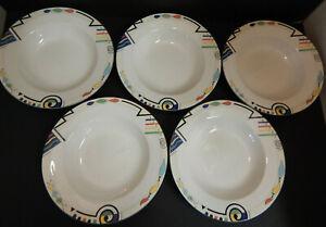 """MIKASA China Ultima Headline  9 1/2"""" Rim Soup Bowls Geometric Pattern Set of 5"""