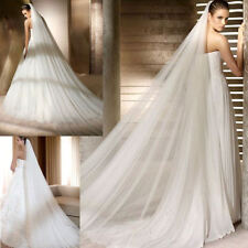 2T Ivory 3M Soft Wedding Bridal Long Veil Church Cathedral Length With Comb UK