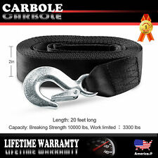 Black Deluxe Boat Trailer Winch Strap With Safety Snap Hook 2''x 20' Universial
