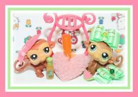 Littlest Pet Shop Pet Pairs Monkeys With Jungle Gym Free Shipping!