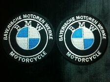 2 Pcs Premium BMW Logo Iron On Patch Biker T- Shirt Polo jacket  Bag Cap Sticker