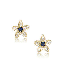 14k YG Plated Over Silver 12 Month Birthstones Flower Stud Screw Back Earrings