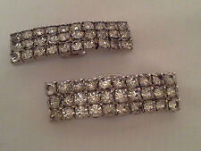 Vintage DECO Rhinestone Shoe Clips Fantastic Bright and Clear