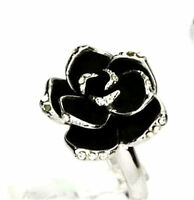 Vintage style adjustable black enamel rose lotus flower ring