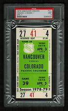 PSA 9 COLORADO ROCKIES 1979 Unused NHL Hockey Ticket at Pacific Coliseum