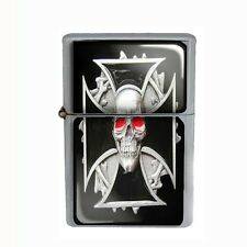 Wind Proof Dual Torch Refillable Butane Lighter Skull Design-008