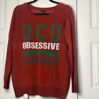 LOL VINTAGE Women Size XL OCD Obsessive Christmas Disorder Ugly Red Sweater