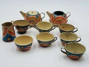 Vintage 10 Pieces 1950s Ohio Art tea set No. 47 USA Made Tin Litho Cute