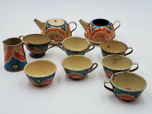 Vintage 10 Pieces 1950s Ohio Art tea set No. 47 USA Made Tin Litho Cute