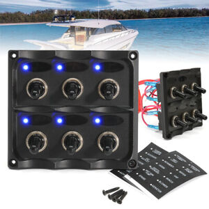 Waterproof 12-24V Car Boat Marine 6-Gang Toggle Switch Panel Fuse Kit LED