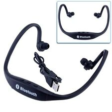 Universal Wireless Bluetooth Neckband Sport Stereo Headphone Headset Black OT