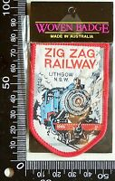 VINTAGE ZIG ZAG RAILWAY LITHGOW EMBROIDERED SOUVENIR PATCH WOVEN CLOTH SEW BADGE