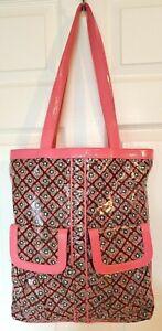 Vera Bradley Frill Womens XXL Brown Pink Floral Print Vinyl Shoulder Bag Shopper
