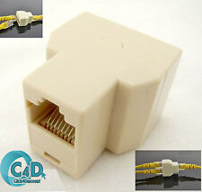 RJ45 Ethernet LAN Network Y Splitter 2 Way Adapter 3 Ports Coupler Split 1 to 2